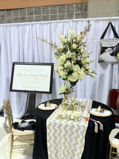 Bridal Show Booth Tall Centerpiece All White Flowers With Gold Accents By Invitation Only
