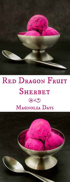 Red Dragon Fruit Sherbet is a bright and colorful frozen treat with a delicate flavor. It's a tasty way to cool down on a hot summer day.