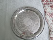 """William Rogers Reticulated 15"""" Round Tray Silver Plated ~ Beautiful!"""