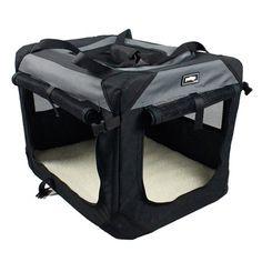 Caixa de Transporte Quadrada Hêlo Cinza e Preto Pet&Go - MeuAmigoPet.com.br #petshop #cachorro #cão #meuamigopet