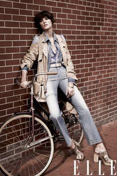 '70s style, suede jacket plus denim