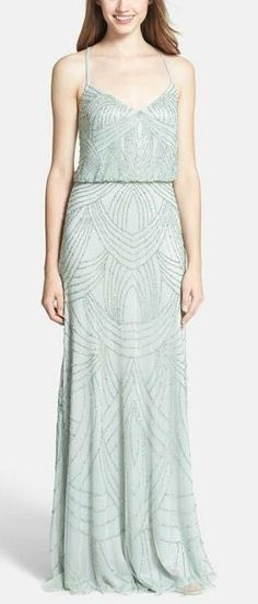 Beaded chiffon long bridesmaid dress, in mint, blue and taupe