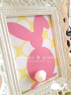 Adorable (and free!) printable of a bunny silhouette.  Add the cotton ball and this is super cute Easter decor!