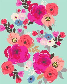 Sweet Pea Floral Aqua Multi color Art Print