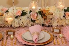 love this pretty pink and vintage gold.