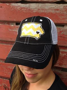 Hawkeye state trucker hat at https://www.etsy.com/listing/193951888/iowa-chevron-bling-trucker-hat