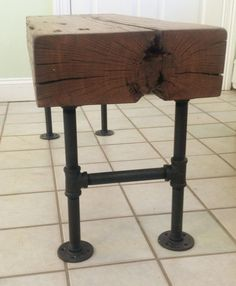 Barn Wood Beam Bench with Pipe Base by AfterTheBarn on Etsy, $475.00- Matt you can make this for free!