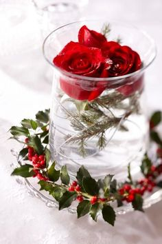 Red Rose and Berry Centerpiece