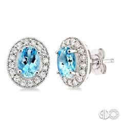 7x5mm Oval Cut Aquamarine and 3/8 Ctw Round Cut Diamond Earrings in 14K White Gold