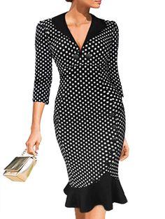 Absorbing Polka Dot Mermaid V Neck   Bodycon-dres Bodycon Dresses from fashionmia.com