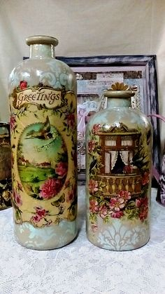 Artisanal royal decoupage glass jars