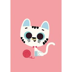 NEW * Cat postcard or mini print - Tiago Americo * www.the-pippa-and-ike-show.com