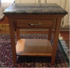 Oak End Table With A Granite Top