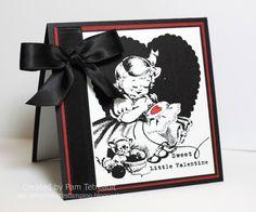 Cute retro valentine digi stamp card.