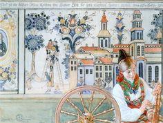 Carl Larsson - Girl With Spinning Wheel Catalog