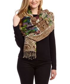 Loving this Aziza Brown & Green Patchwork Embroidered Wool Shawl on #zulily! #zulilyfinds