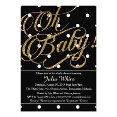 Glitter Baby Shower Invitation, Black and White 5x7 Paper Invitation Card