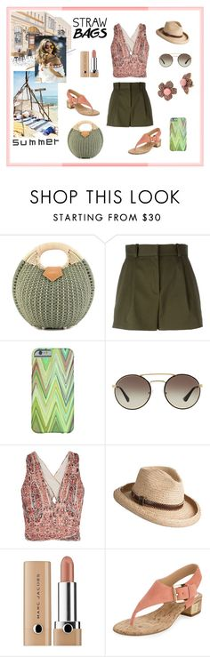 """Round Cane Tote Bag"" by dana-debanks ❤ liked on Polyvore featuring Versace, Prada, Alice + Olivia, Overland Sheepskin Co., Marc Jacobs, MICHAEL Michael Kors, Betsey Johnson and strawbags"