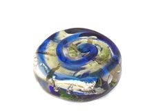 Silver Blue Green Lampwork Beads Set Solid by CzechBeadsExclusive
