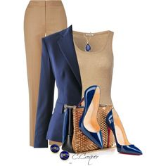 Camel & Blue by ccroquer on Polyvore featuring polyvore, fashion, style, American Vintage, Ralph Lauren, Jaeger, Chanel, Karen Kane, Christian Louboutin and clothing