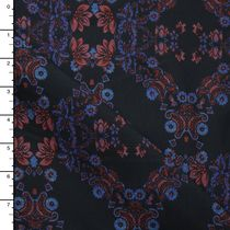 Red and Blue Weathered Crisscross Floral on Black Stretch Heavyweight Sateen from 7 for All Mankind