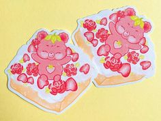 Strawberry Bear Strawberry Cream Bread | Etsy Kawaii Fruit, Cute Keychain, Heart Frame, Bear Cakes, Cosmic Girls, Strawberries And Cream, Clear Acrylic, Strawberry, Super Cute