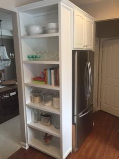 clever storage beside the fridge open shelf in kitchen Home for the Fridge | Do It Yourself Home Projects from Ana White