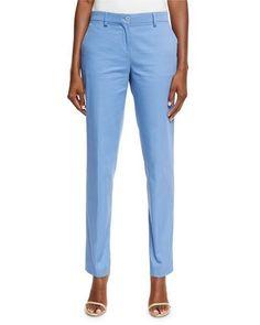 Designer Clothes, Shoes & Bags for Women Blue Trousers, Twill Pants, Blue Pants, Straight Leg Pants, Cotton Spandex, Mom Jeans, Light Blue, Pajama Pants, Polyvore