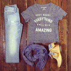 Pair this statement tee with light denim, a patterned scarf & tribal boots for an effortless look. #fashion #styleinspiration #ootd