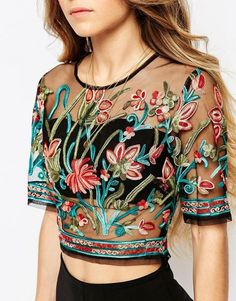 ebonie n ivory | ebonie n ivory Sheer Mesh Crop Top In Festival Embroidery