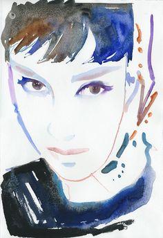 Audrey Hepburn Art Watercolour Fashion Illustration Print  by silverridgestudio, $35.00