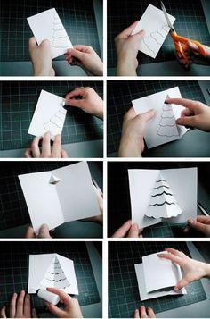 paso a paso para hacer una tarjeta de navidad pop up                                                                                                                                                                                 Más