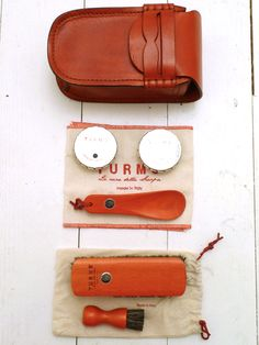 Red Leather College Shoe Care Kit by TURMS available to buy at The Bureau Belfast