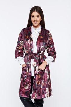 PrettyGirl burgundy velvet casual jacket with floral prints, women`s jacket, inside lining, 3/4 sleeves, easy cut, floral prints, with pockets, velvet
