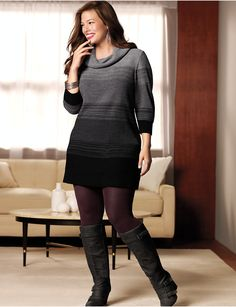 Not so sure about the color of those tights tho ; )  Plus Size Sweater Dress Tunic by Lane Bryant | Lane Bryant