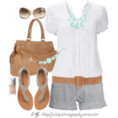 White blouse, grey shorts, tan leather bag & belt, silver beaded flips, and SUCH cute mint stone jewelry!