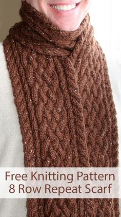 Free Knitting Pattern for 8 Row Repeat Unisex Rupe Cable Scarf Free Knitting Pattern for 8 Row Repeat Unisex Rupe Cable Scarf – A simple 8 row repeat cabled scarf for a man or a woman. Any weight yarn. Designed by Annie Bell. Pictured project by jaderae. Mens Scarf Knitting Pattern, Mens Knitted Scarf, Free Knitting Patterns For Women, Cable Knitting Patterns, Knitting Blogs, Loom Knitting, Knitting Stitches, Knit Scarves, Vogue Knitting