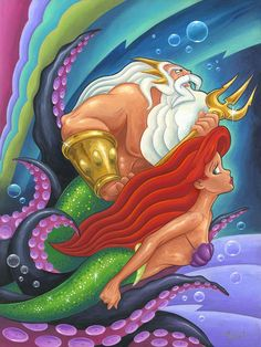 """The Escape"" by Mike Kungl King Triton, Ariel, and Ursula Ariel Mermaid, Mermaid Disney, Disney Little Mermaids, Ariel The Little Mermaid, Mermaid Art, Disney Love, Disney Magic, Disney Stuff, Walt Disney"