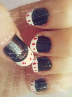 Black nails with white tips and red dots | Mrs.Natalia01  Find me on... YouTube: https://www.youtube.com/channel/UCCpIMrwzNIFN-D0j6pA44pw  Instagram: https://instagram.com/mrs.natalia01/  Twitter: https://twitter.com/MrsNatalia01