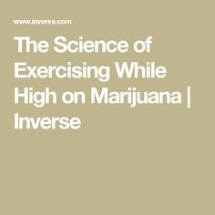 The Science of Exercising While High on Marijuana | Inverse