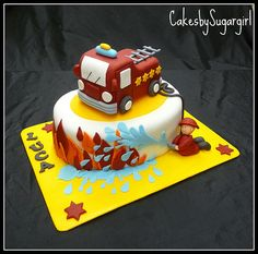 Fire Truck Cake for A-man's next b-day. He LOVES firetrucks! Cupcakes, Cake Cookies, Cupcake Cakes, Fire Engine Cake, Fire Fighter Cake, Fire Cake, Specialty Cakes, Novelty Cakes, Occasion Cakes