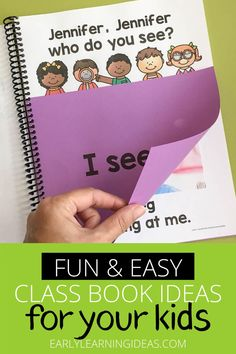 Class books are often the most engaging books in a preschool or kindergarten classroom reading corner. Click to find 20 fun ideas and learn how to make DIY class books for kids at school & home. From Pete the cat, brown bear brown bear, chicka chicka boom boom, and MORE. Use these fun books to teach letters, rhyming, beginning sounds, and other literacy concepts. This is a fun way to build a classroom community at the beginning of the year during an all about me unit and beyond. Circle Time Activities, Language Activities, Literacy Activities, Toddler Activities, Preschool Books, Preschool Themes, Kindergarten Classroom, Family Engagement, Engagement Ideas