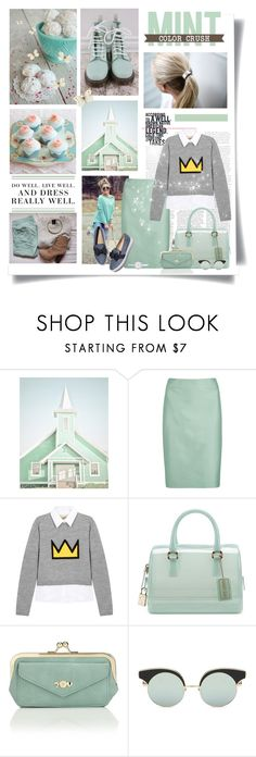 """Every day is a journey, and the journey itself is home"" by kikusek ❤ liked on Polyvore featuring Dr. Martens, Levi's, Armani Collezioni, Alice + Olivia, Furla, Accessorize, DKNY, Spring, outfit and mint"