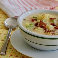 This thick and chunky potato soup with crispy bacon, carrots, celery, and onion is a satisfying family-friendly dinner that's easy to make. Potato Recipes, Soup Recipes, Dinner Recipes, Cooking Recipes, Dinner Ideas, Chili Recipes, Yummy Recipes, Vegetarian Recipes, Tasty
