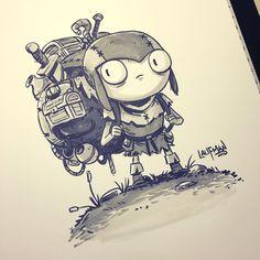 Inktober Day 23 - The Scavenger This is Barry, a character from my comic RuinWorld. #inktober2016 #inktober #ruinworld #promarker #brushmarker #dereklaufman