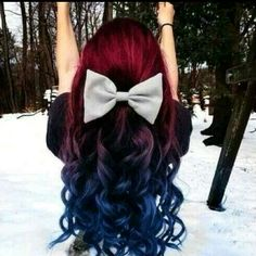 Red and blue ombre hair ❤
