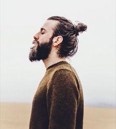 Classy Look with Hair Bun And Long  Stubble Beard