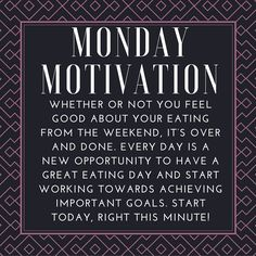 Monday Motivation: Whether or not you feel good about your eating from the weekend, it's over and done. Every day is a new opportunity to have a great eating day and start working towards achieving important goals. Start today, right this minute! Mo