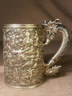 Chinese export silver presentation cup, Shanghai, China c1885. Great dragon handle! (elvisknievel)