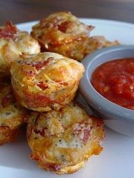 Pizza muffins -great boy food. GREASE the muffin tins!!!! these stick badly but are quite tasty